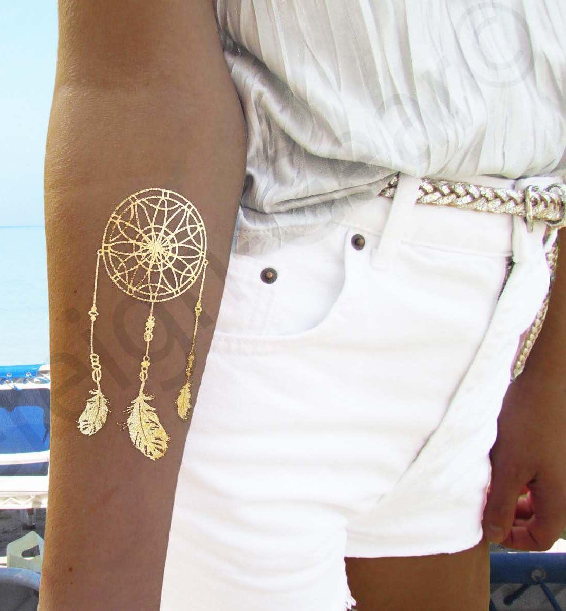 Metálico tatuajes temporales para las mujeres adolescentes Niñas ...