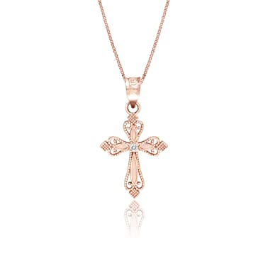 with rose pendant honolulu cross diamond jewelry company dp quot necklace and gold