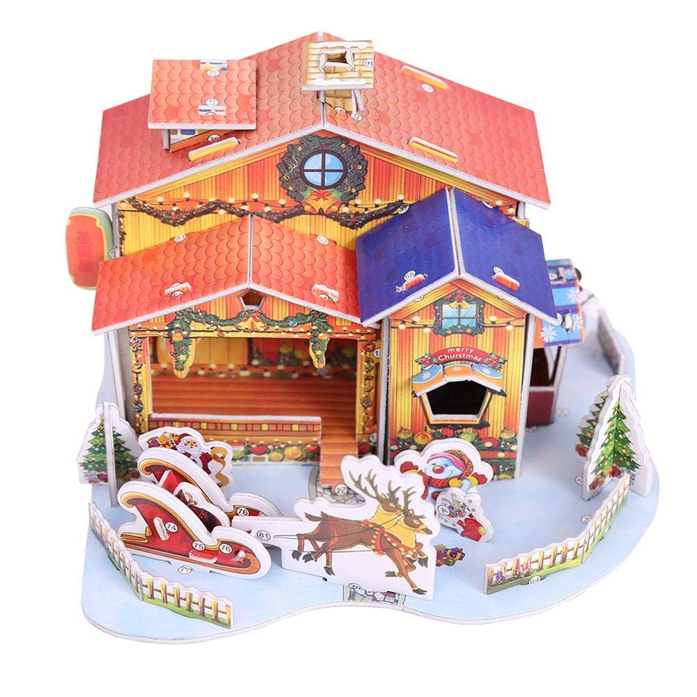 Demiawaking Christmas Doll House Villages Miniatures Diy Kit Dolls Wiring Assemble Snowman Reindeer Santa Xmas Tree Scene