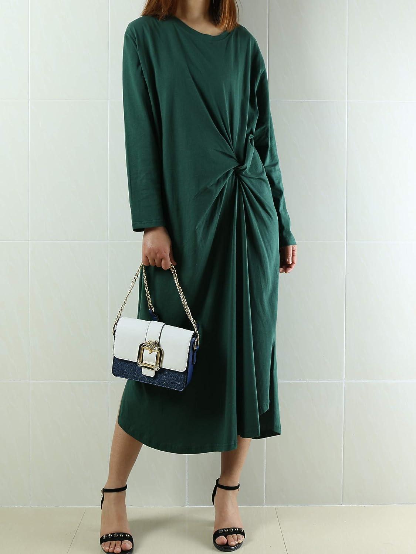 a3154efb58e Amazon.com  Women s Long Sleeve Cotton Dress Casual Dress Cotton Tunic  Top Long Sleeve Summer Maxi Dress Customized Oversized Plus Size Dress Dark  Green  ...