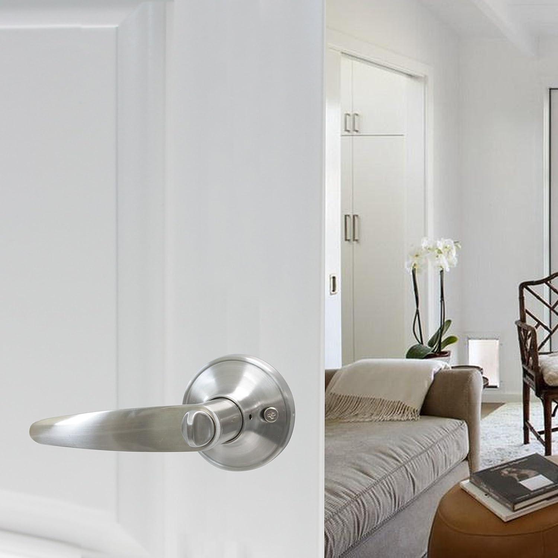 2 Pack Probrico Round Doorknobs Door Knob Lock Keyless Privacy Door Lockset Handle Storage Room Bathroom Satin Nickel Door Knob-5763