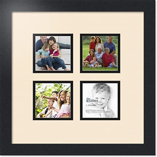 ArtToFrames Collage Photo Frame Double Mat with 4-4x4 Openings and Satin Black Frame