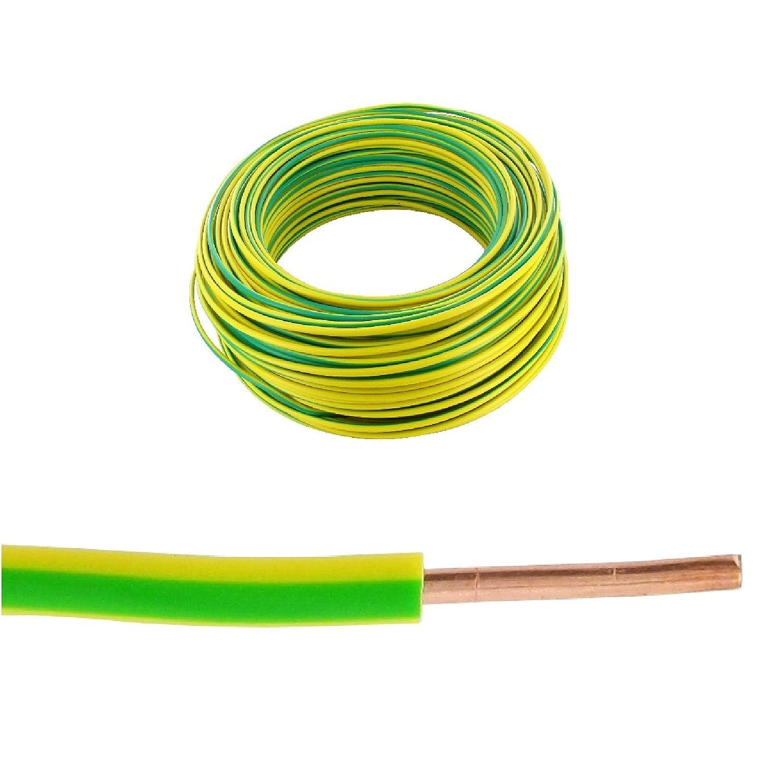 Bobine fil rigide 100m. 1, 5mm² Vert/Jaune H07VR/VU 5mm² Vert/Jaune H07VR/VU