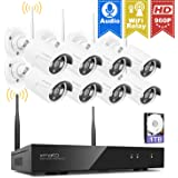 [Audio Compatible] xmartO 8CH 960p HD Wireless Security Camera System 1TB with 8pcs 960p HD Outdoor WiFi Cameras, Auto-Pair, NVR with Built-in WiFi Router, Dream Liner WiFi Relay, 80ft IR Night Vision