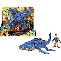 Fisher-Price Imaginext Jurassic World Camp Cretaceous Mosasaurus Dinosaur & Kenji figure set for preschool kids ages 3-8…