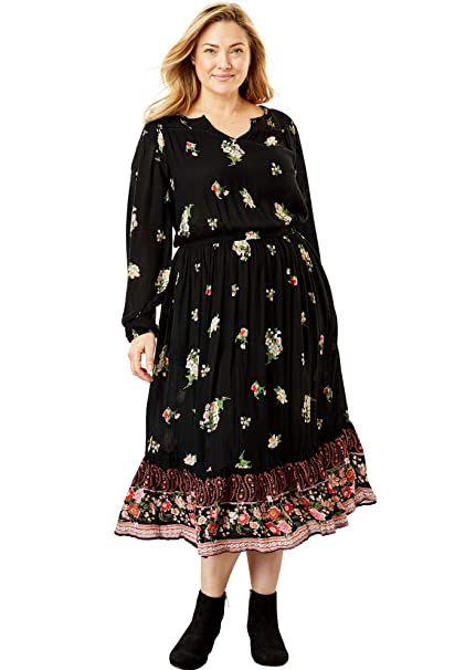 Woman Within Women\'s Plus Size Peasant Crinkle Dress