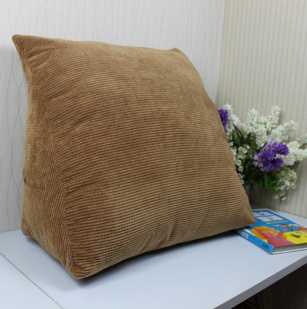 Corduroy Triangle Reading Wedge Pillow Cushion,Sofa Bed Pillow Upholstered Wedge Cushion Headboard Positioning Support Backrest Pillow-Brown 40x30x20cm(16x12x8inch)