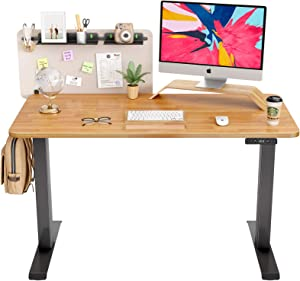FAMISKY Dual Motor Adjustable Height Electric Standing Desk, Storage Panel with Tray, 48 x 24 Inches Stand Up Table, Sit Stand Home Office Desk with Splice Tabletop, Black Frame/Rubberwood Top