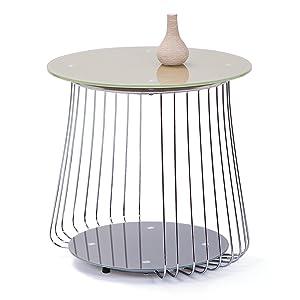 """Links - Think Design,  Tavolino da salotto """"Rivoli"""", diametro 50 cm, vetro, colore: Cappuccino"""