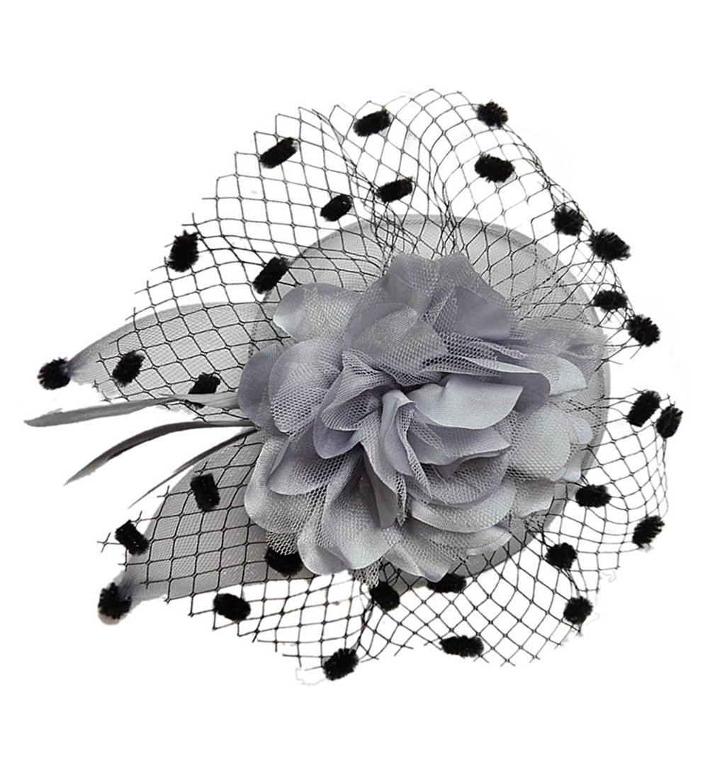 Coolwife Womens Fascinator Veil Flower Cocktail Tea Party Headwear (Grey)