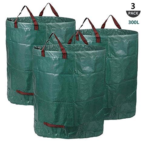 300 L Sacos de jardín, 3 Bolsas de jardín Premiums, Resistentes al Agua, Grandes Bolsas de Basura con Asas, Plegables y Reutilizables
