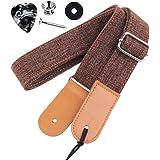 Rinastore Ukulele Strap Country Style Soft Cotton Linen & Genuine Leather Ukulele Shoulder Strap (Coffee-US-12)