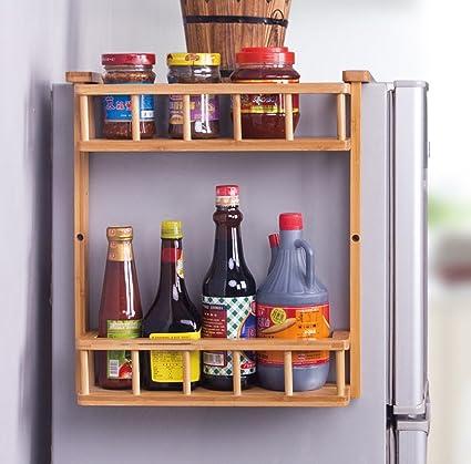 Amazon Com Lhfj Wooden Hanging Shelf For Refrigerator 2 Tiers