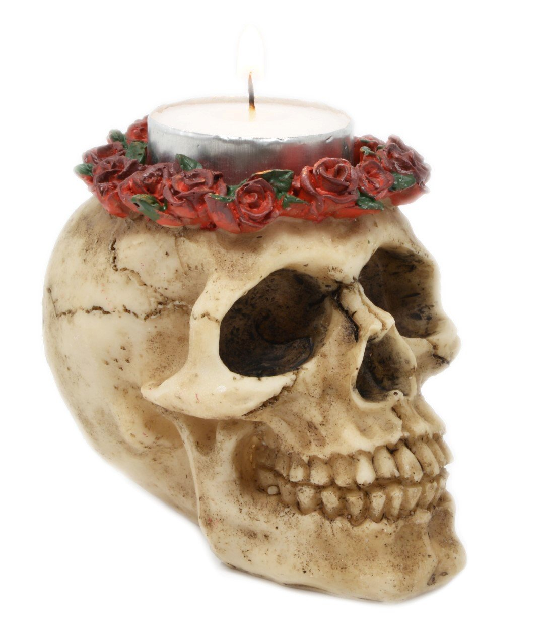 Gothic Skull Tealight Candle Holder with Roses Piquaboo