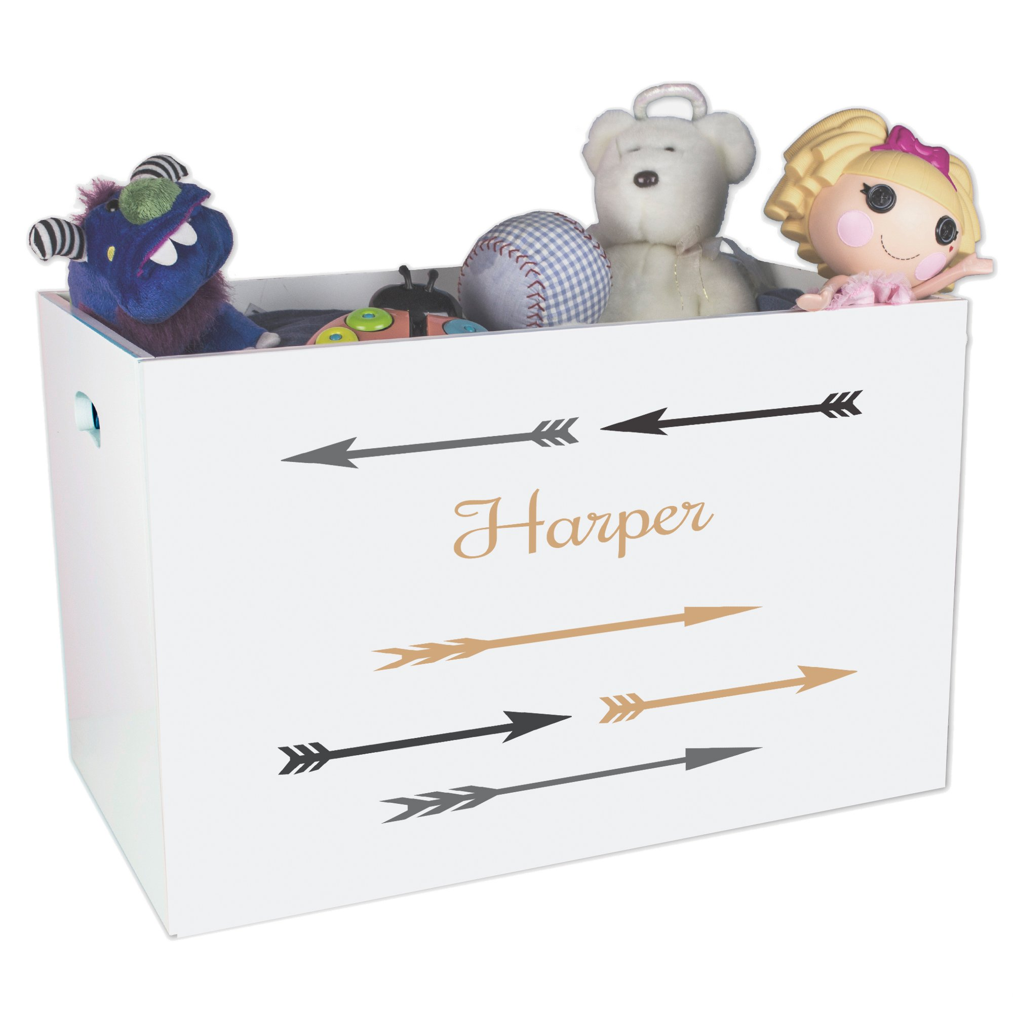 Personalized Gold and Grey Childrens Nursery White Open Toy Box