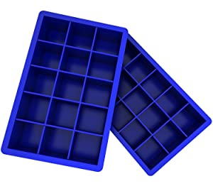 Ozera 2 Pack Silicone Ice Cube Tray Molds Candy Mold Cake Mold Chocolate Mold, 15 Cavity, Blue