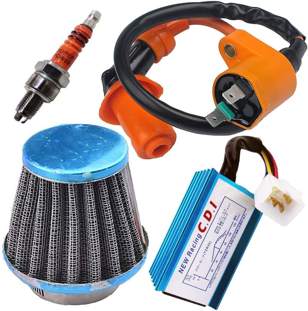 Racing Ignition Coil 5 Pins AC CDI 39mm Air Filter Spark Plug for GY6 4-Stroke Engine 139QMB 152QMI 157QMJ 50cc-150cc Scooter ATV Go Kart Moped Quad Pit Dirt Bike by TOPEMAI