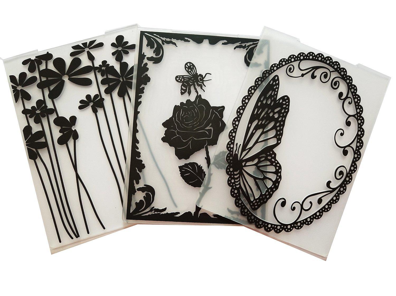 New Arrival Plastic Embossing Folder Scrapbook DIY Paper Cutting Dies Scrapbooking 3 Pcs Czorange