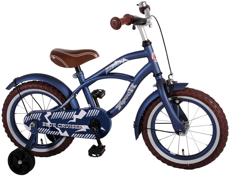 Bicicleta Niño de 14 pulgadas Ruedas Extraíbles Azul 95% Montado Volare Bicycles Volare51401