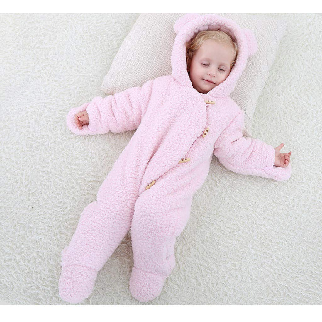 Minizone Bambino Inverno Pagliaccetto Cappuccio Tutina Tuta da Neve Outfits Pagliaccetti Neonato Ragazzi Ragazze Pigiama Cappotti Piccolo Tutine Vestiti