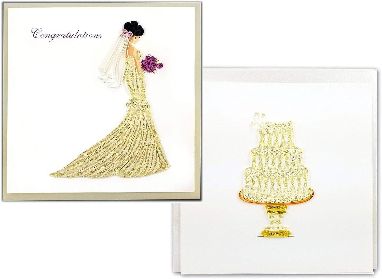 Wedding Day Card Wedding Cake Flower Congratulations Cut The Cake Heart Wreath Handmade one-of-a-kind OOAK Unique Dimensional 3D 5x7 Wed004