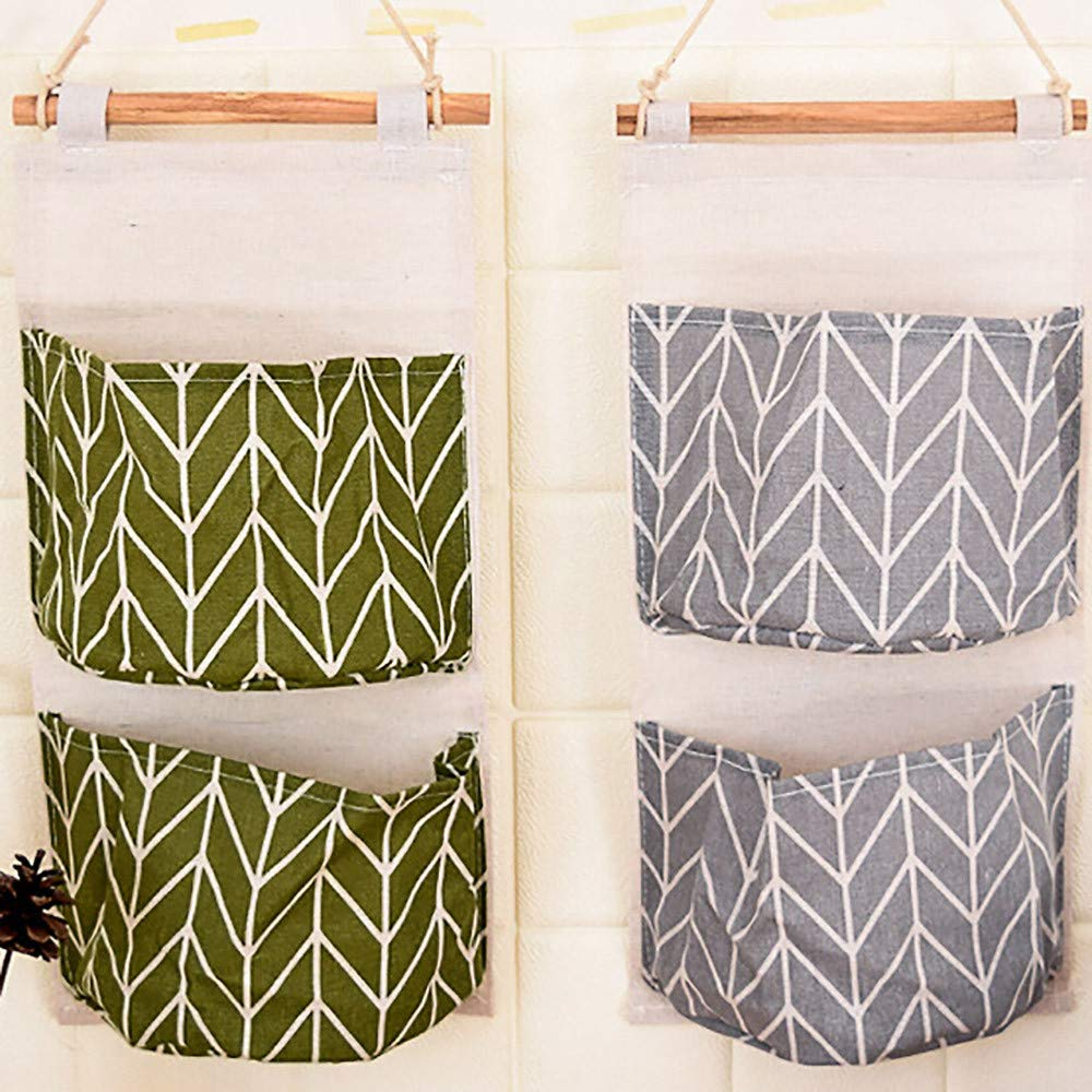 sunnymi Wall Grid Storage Bag 2 Grids Wall Hanging Storage Bag Organizer Toys Container Decor Pocket Pouch 41 Gray 19.2cm