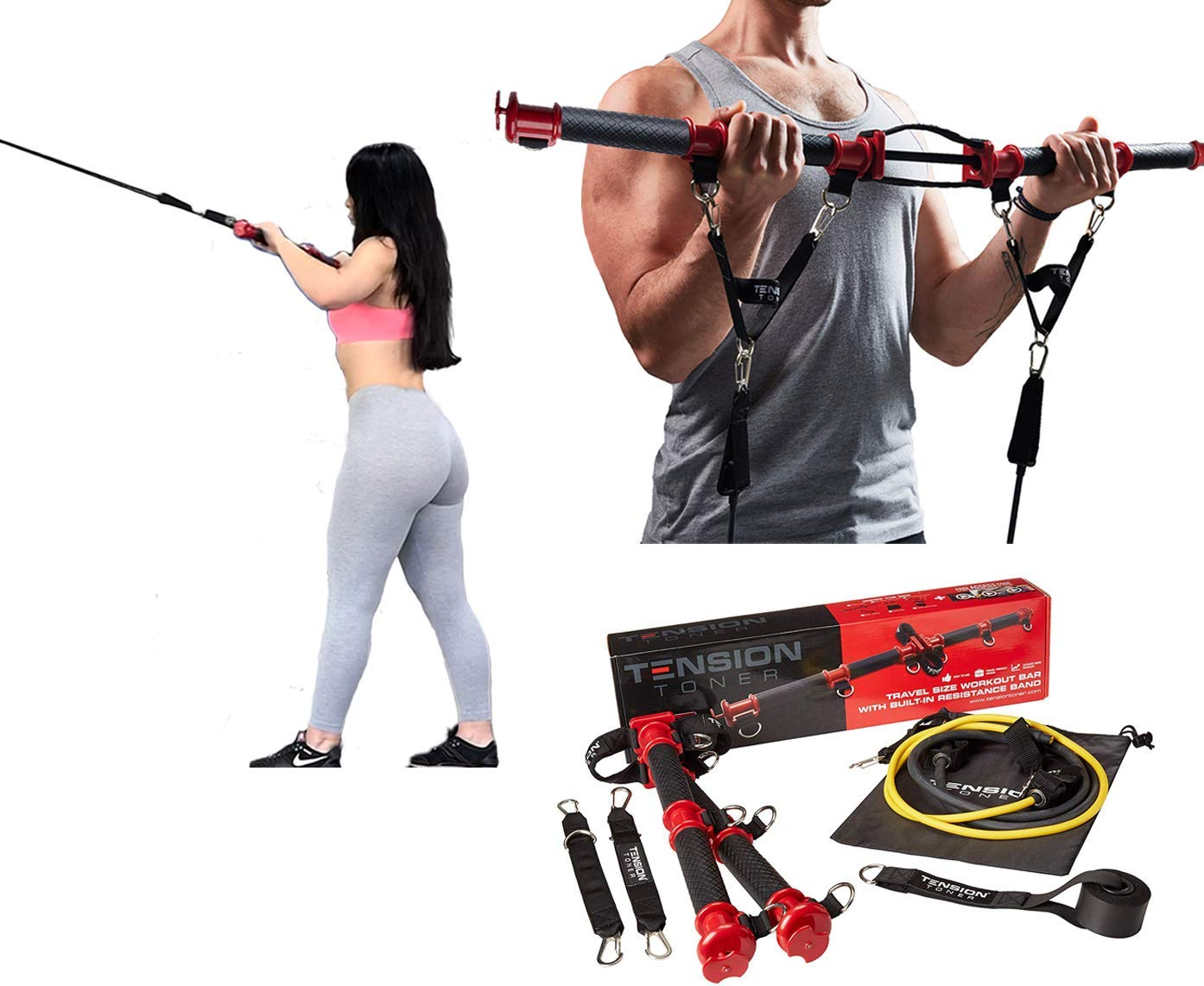 TENSION TONER: Workout Your Muscles with Over 70 Different Full Body Exercises to Build Strength & Lean Muscle - Patented Portable Home Gym