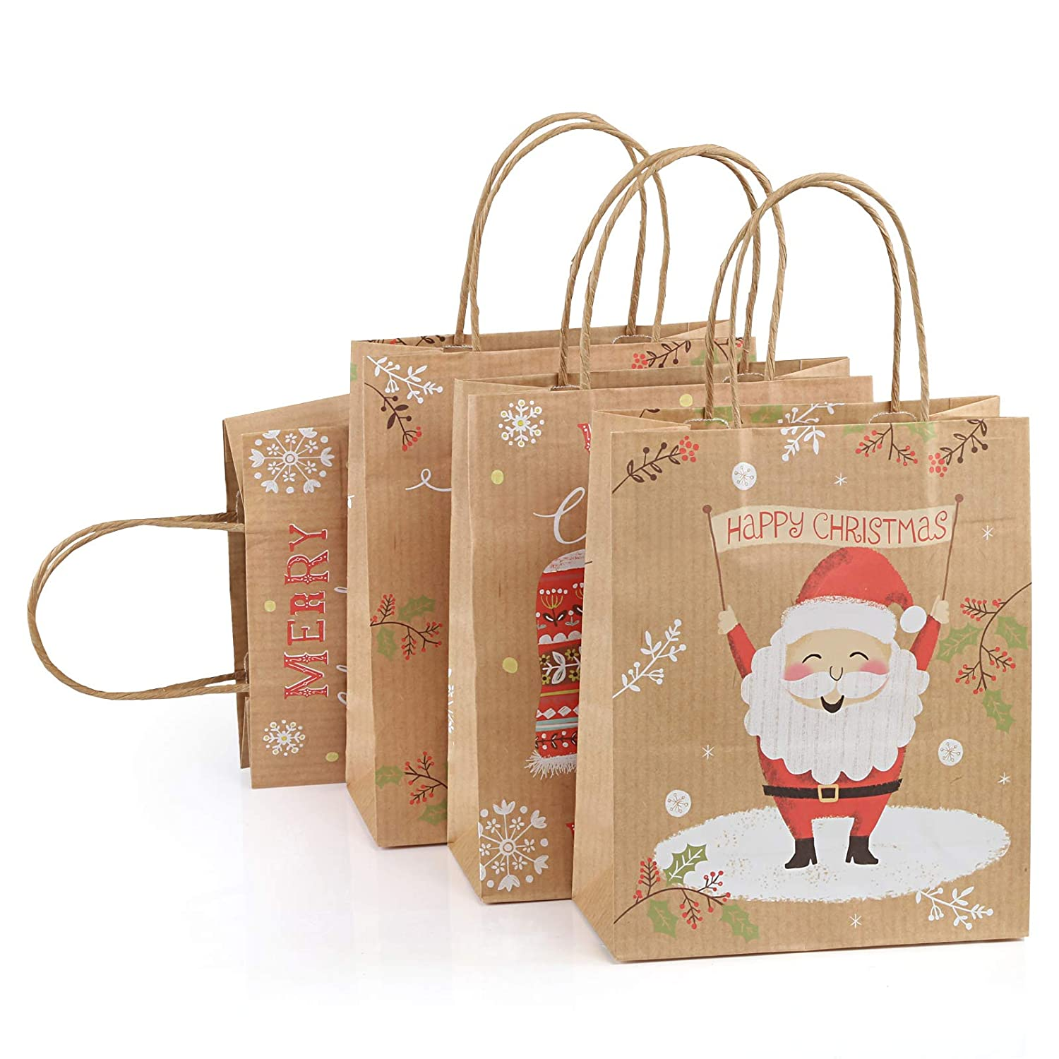 GWHOLE Xmas Paper Bags for Gift Wrapping Wrap Paper Bags Kraft Bags Retail Bags Shopping Bags