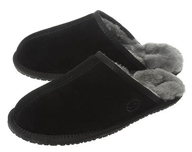 14e0c81f0 SHEPHY Jeno Mule Merino Sheepskin Slippers for Women with Suede Leather  Upper (Black, Size