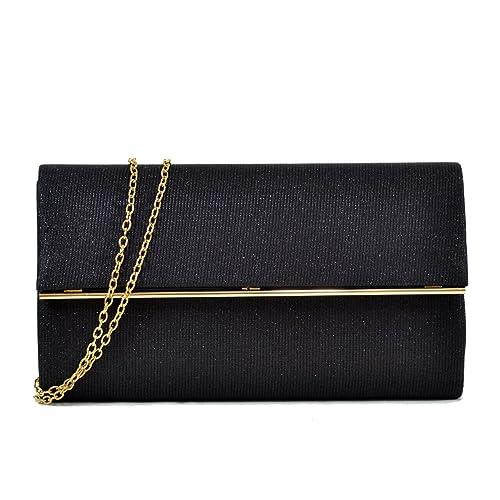 9a1a047545 Women Evening Bag Glitter Clutch Purse Wedding Party Prom Handbag w/Gold  Crossbody Chain Strap