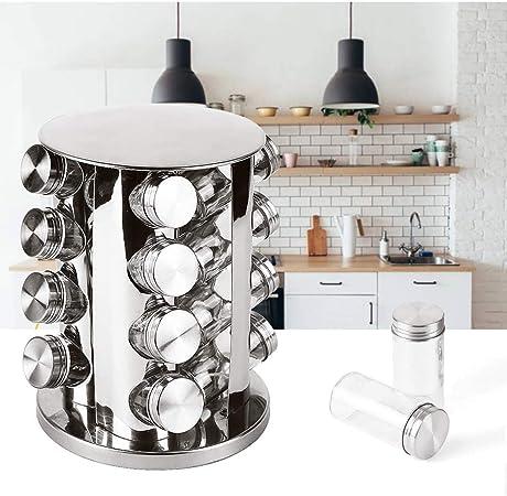 Hogar y Mas Especiero Organizador Giratorio Acero INOX, Juego de 16 Botes para Especias de Cocina. PortaEspecias 26x18,5 cm: Amazon.es: Hogar