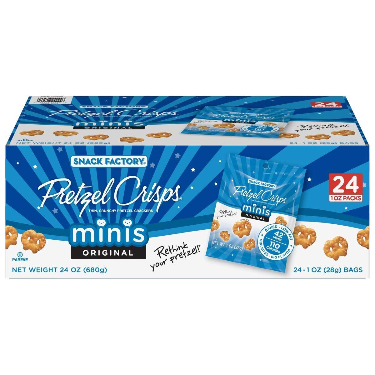 Snack Factory Pretzel Crisps Original Minis, Single-Serve 1 Oz, 24 Ct by Snack Factory