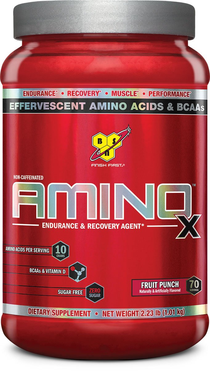 BSN Amino X Post Workout Muscle Recovery & Endurance Powder with 10 Grams of Amino Acids Per Serving, Flavor: Fruit Punch, 70 Servings