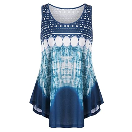 f3b6d7d6b5f YJYDADA Womens Sleeveless Vest Geometry Print Plus Size Tie Dye Curved Hem Tank  Top (L