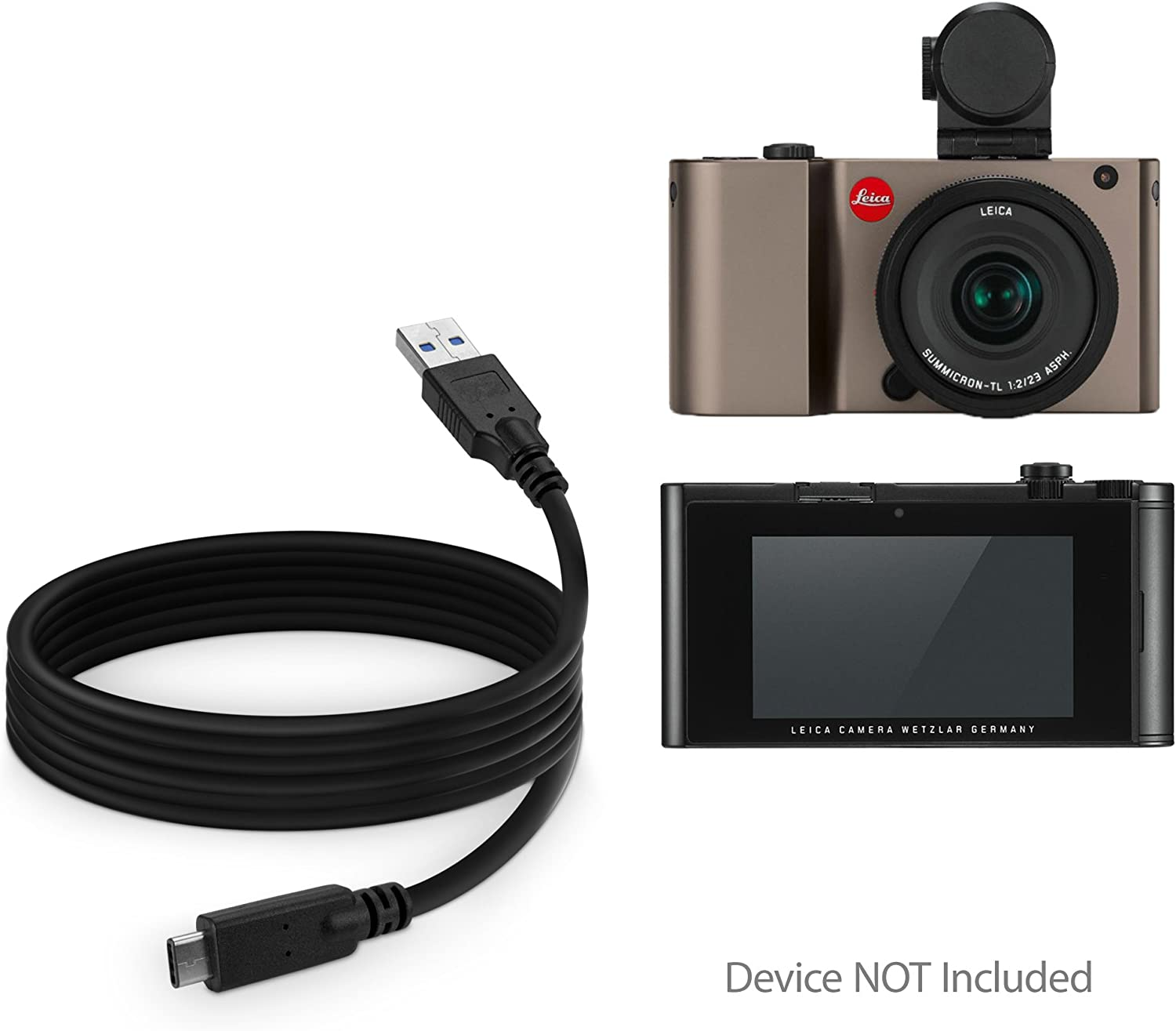Jet Black BoxWave Type C Braided 3ft Charge and Sync Cable for Leica TL2 - USB-C to USB-C 3ft 100W DirectSync PD Cable Leica TL2 Cable