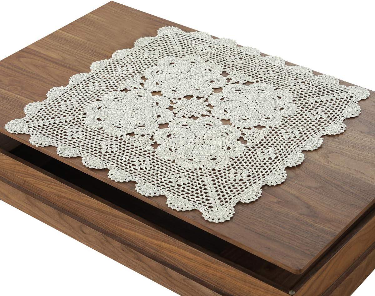 gracebuy Beige 19 Inch Square Handmade 100% Cotton Crochet Lace Tablecloth Doilies