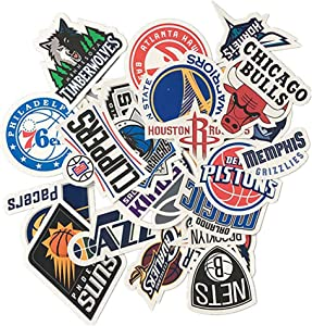 30pcs Vinyl Stickers Waterproof NBA Basketball Team Logo All Complete Set Graffiti Decals for Water Bottles Cars Motorcycle Skateboard Portable Luggages Phone Ipad Laptops