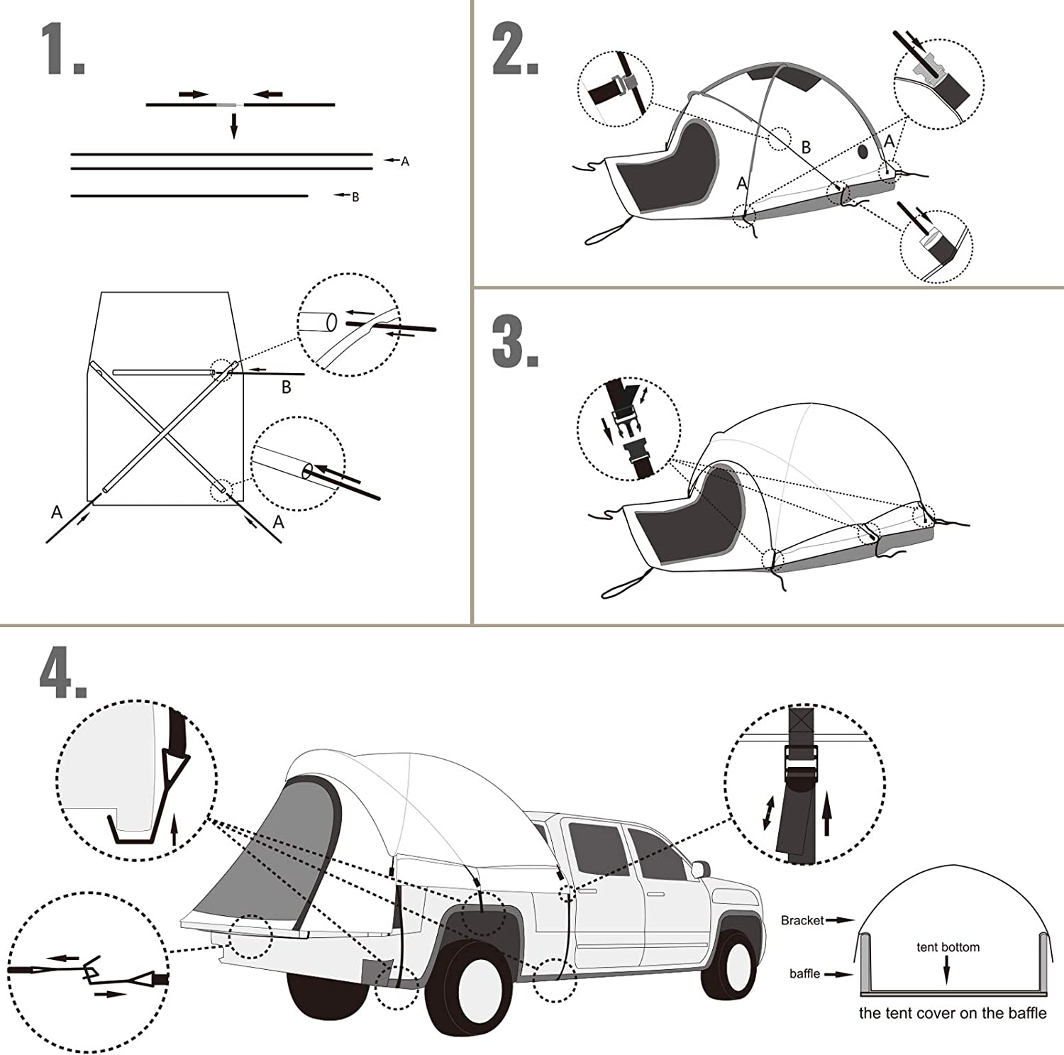 Easy To Setup Truck Tents For Camping Fishing 2-Person Sleeping Capacity Hiking VEVOR Truck Tent 8/' Truck Bed Tent 2 Mesh Windows Pickup Tent for Full Size Truck Waterproof Truck Camper