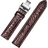EHHE ZPF Alligator Replacement Leather Watch Band With Deployment Buckle for Men and Women 18mm-24mm