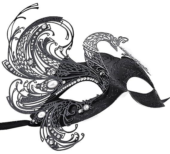 Coxeer Cristal d Arques Masquerade Máscara Veneciana Mariposa de Metal Brillante Mardi Gras Máscara Multicolor (One Size, Swan): Amazon.es: Juguetes y ...