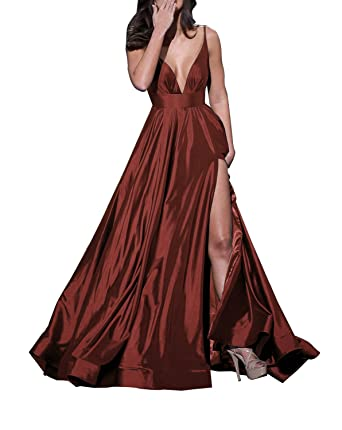 Prom Dresses 2018 Long Slit Spaghetti Strap V-Neck Backless Satin Evening Gown Burgundy Size