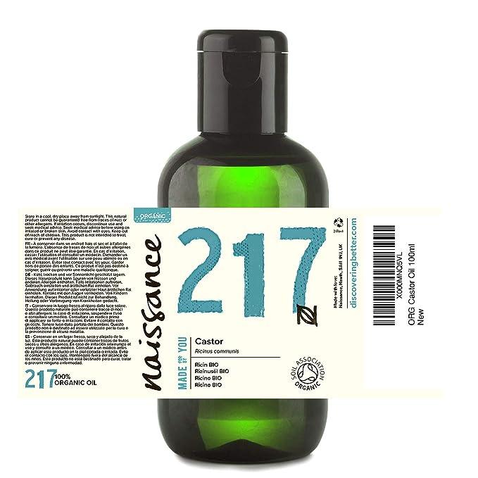 Naissance Aceite de Ricino BIO 100ml - Puro, natural, certificado ecológico, prensado en frío, vegano, sin hexano, no OGM - Hidrata y nutre el cabello, ...