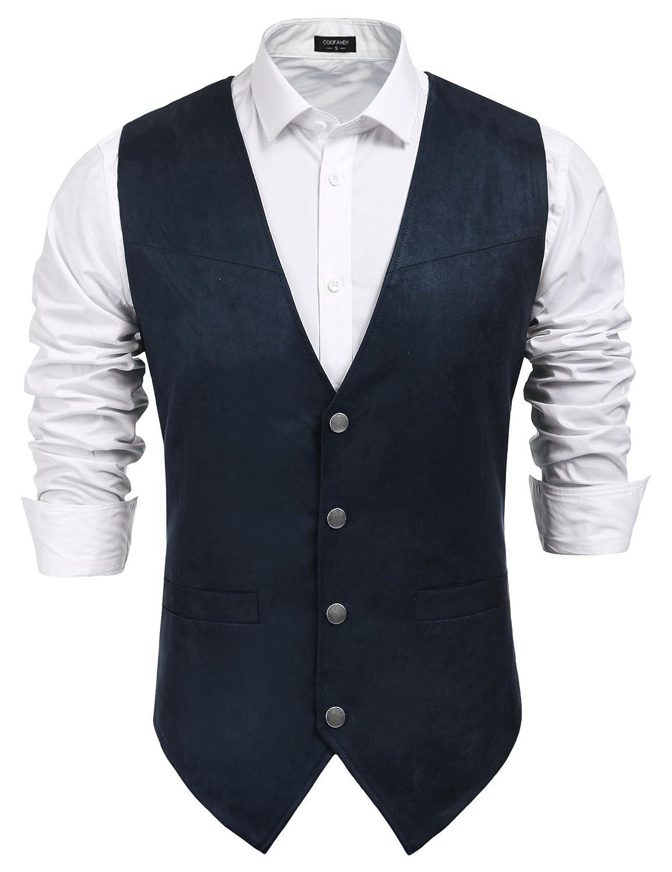 JINIDU Mens Casual Suede Leather Vest Jacket Slim Fit Dress Vest Waistcoat