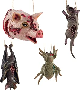 Cosweet 4 Sets Realistic Halloween Props Fake Bat Rat Spider Pig- Scary Spooky Decor Supplies for Halloween Party Decor April Fool's Day