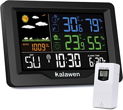 Digitale Funk Wetterstation Wecker Thermometer Hygrometer LED Farbdisplay