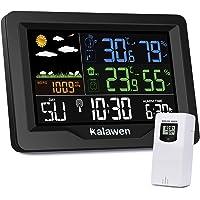 Kalawen Stazione Meteo Meterologica Automatica Digitale Wireless con Ultra-Ampio Schermo LCD Display Sveglia Tempo Data Temperatura umidità Previsioni Meteo con Sensore Esterno