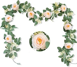 2pcs (13Ft) Artificial Rose Vine Fake Silk Flower Garland Hanging Rose lvy for Wedding Arch Decor (Champagne)