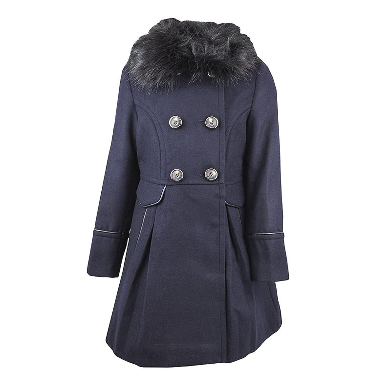 GIRLS COAT FAUX FUR COLLARED NAVY BLUE NEXT WOOL SMART FORMAL COAT RRP  £52.  Amazon.co.uk  Clothing e3acbd8c1d10