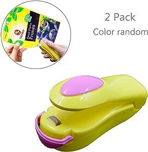 LiXiongBao 2 Pack Mini Portable Handheld Heat Vacuum Sealer Bag Sealer Mini Sealing Machine Hand Pressure Heat Sealing Machine Handheld Plastic Bag Sealer Mini Food Sealer for Plastic Bags Food Saver Storage (Random Color)