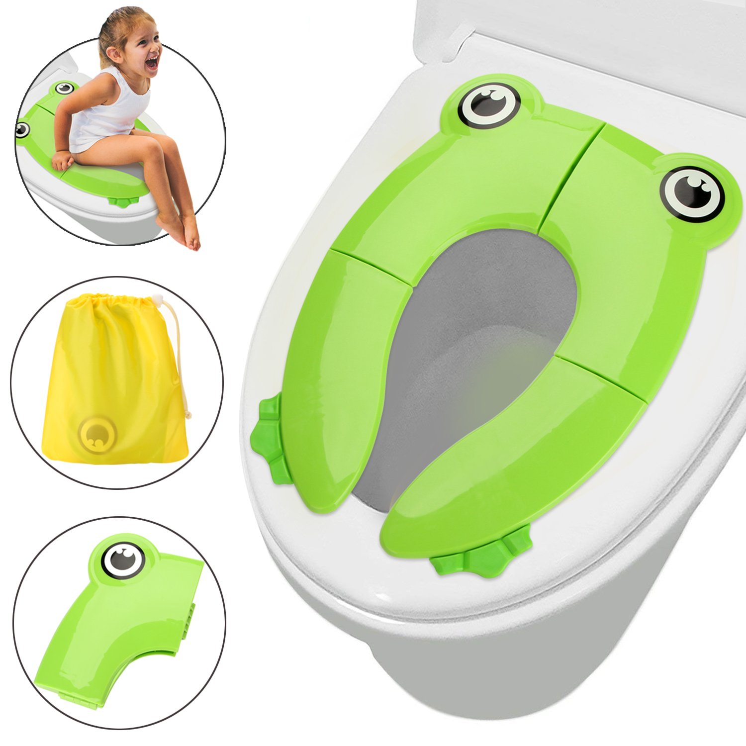 Potty Training Seat, FITNATE Fits Round Potty Training Seat U&Oval Toilets with Cushion Handle & Anti-Slip Backrest, Bath Toy Organizer,Toilet Brush for Boys, Girls, Babies & Toddlers (Green)